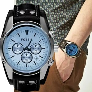 New Fossil Coach men leather blue face watch